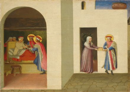 Angelico, Fra: The Healing of Palladia by Saint Cosmas and Saint Damian. Fine Art Print/Poster. Sizes: A4/A3/A2/A1 (4172)